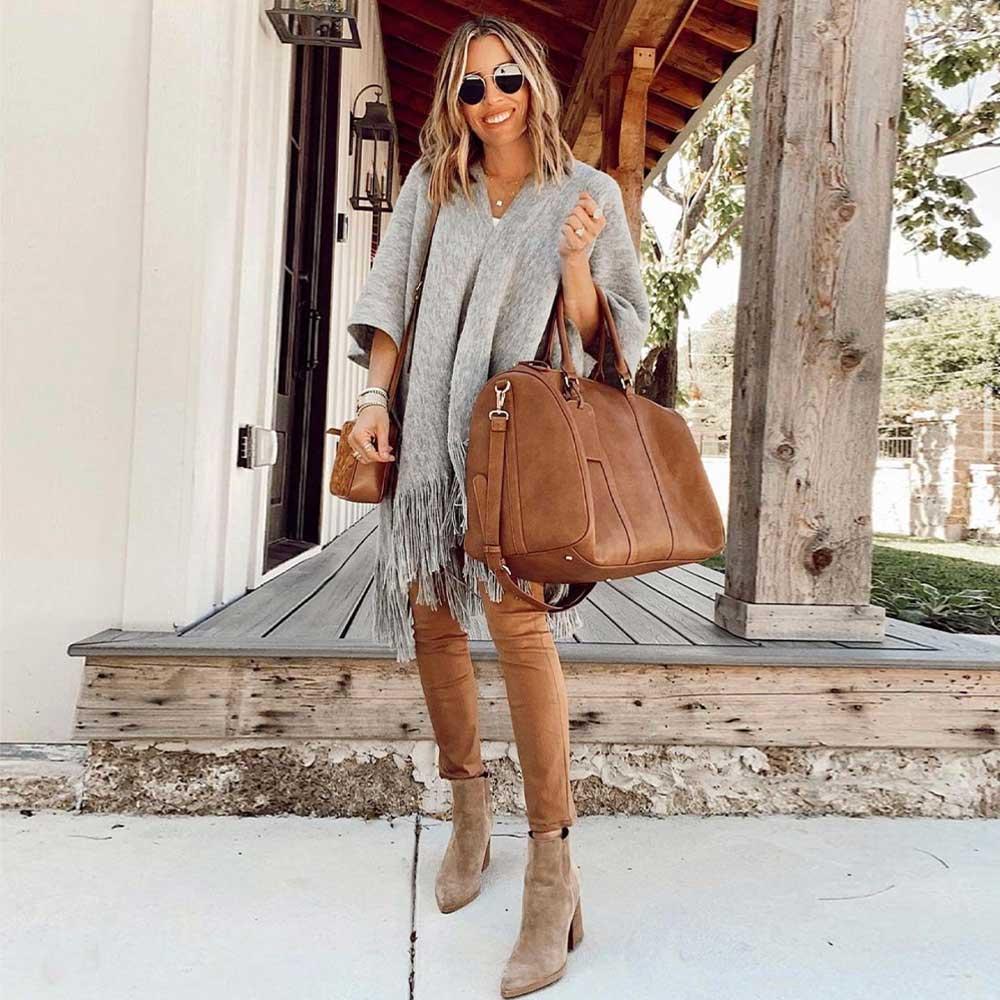SOLE SOCIETY Lacie Weekender Vegan Bag in Brown
