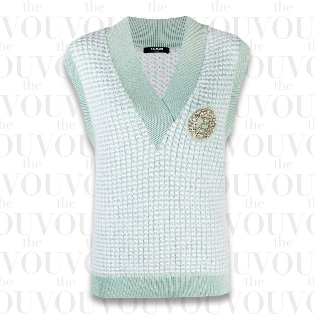 Balmain Embellished-logo Sweater Vest