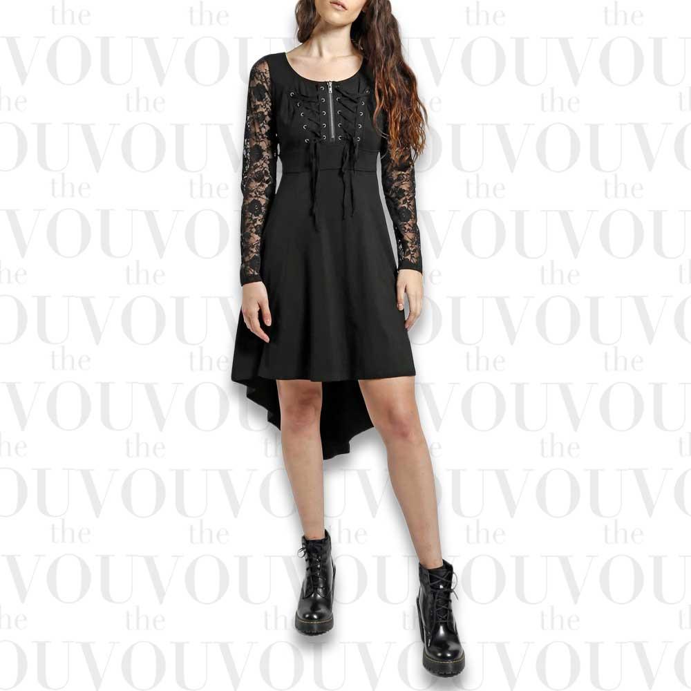 Lace Long Sleeve Hi Low Dress