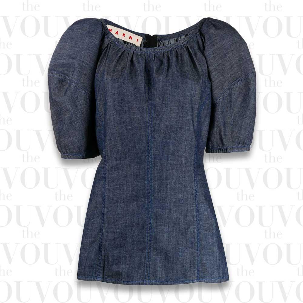 Marni Puffed Sleeves Denim Blouse