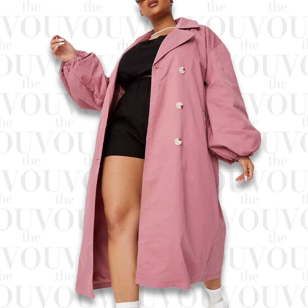 Pink Balloon Sleeve Trench Coat