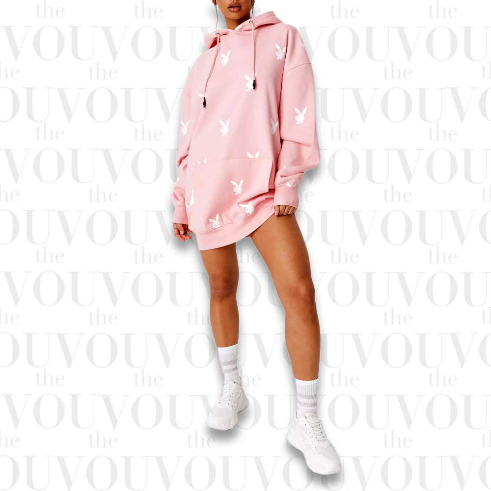 Playboy x Missguided Pink Oversized Repeat Logo Hoodie Dress