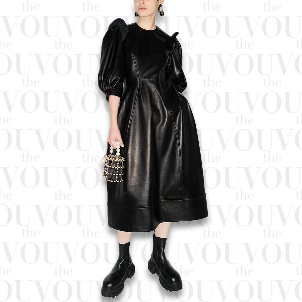 Simone Rocha Frilled Shoulders Puff-Sleeves Dress