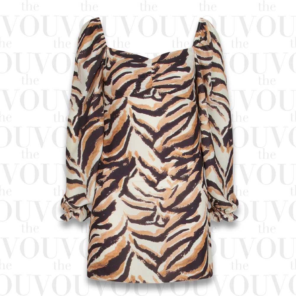 Tiger Print Puff Sleeve Mini Dress