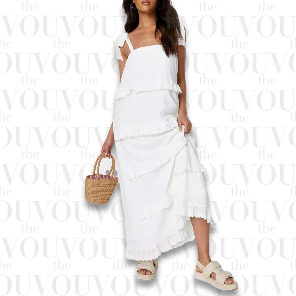White Crinkle Cami Ruffled Maxi Dress