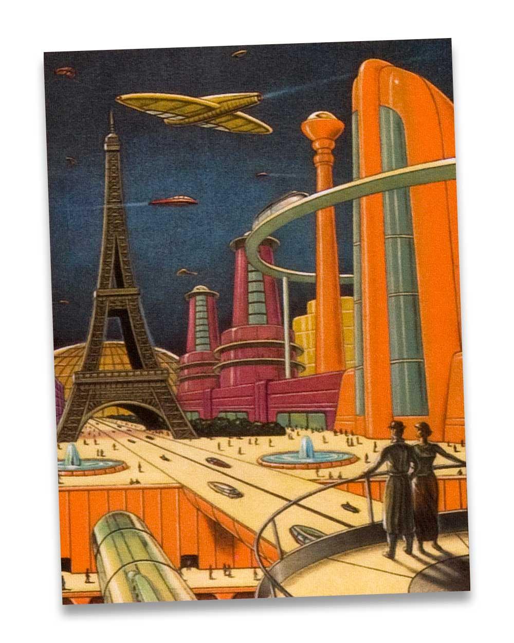 Atompunk retro futurism aesthetic: Paris in 20th Century