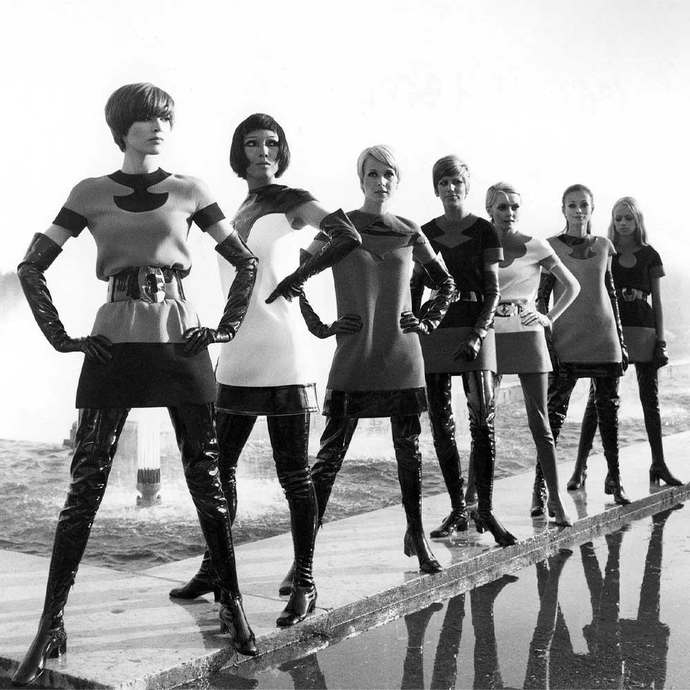 "Pierre Cardin's 1969 collection, in the exhibition ""Pierre Cardin: Future Fashion."""