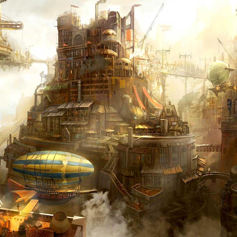 Steampunk retro futurism aesthetic