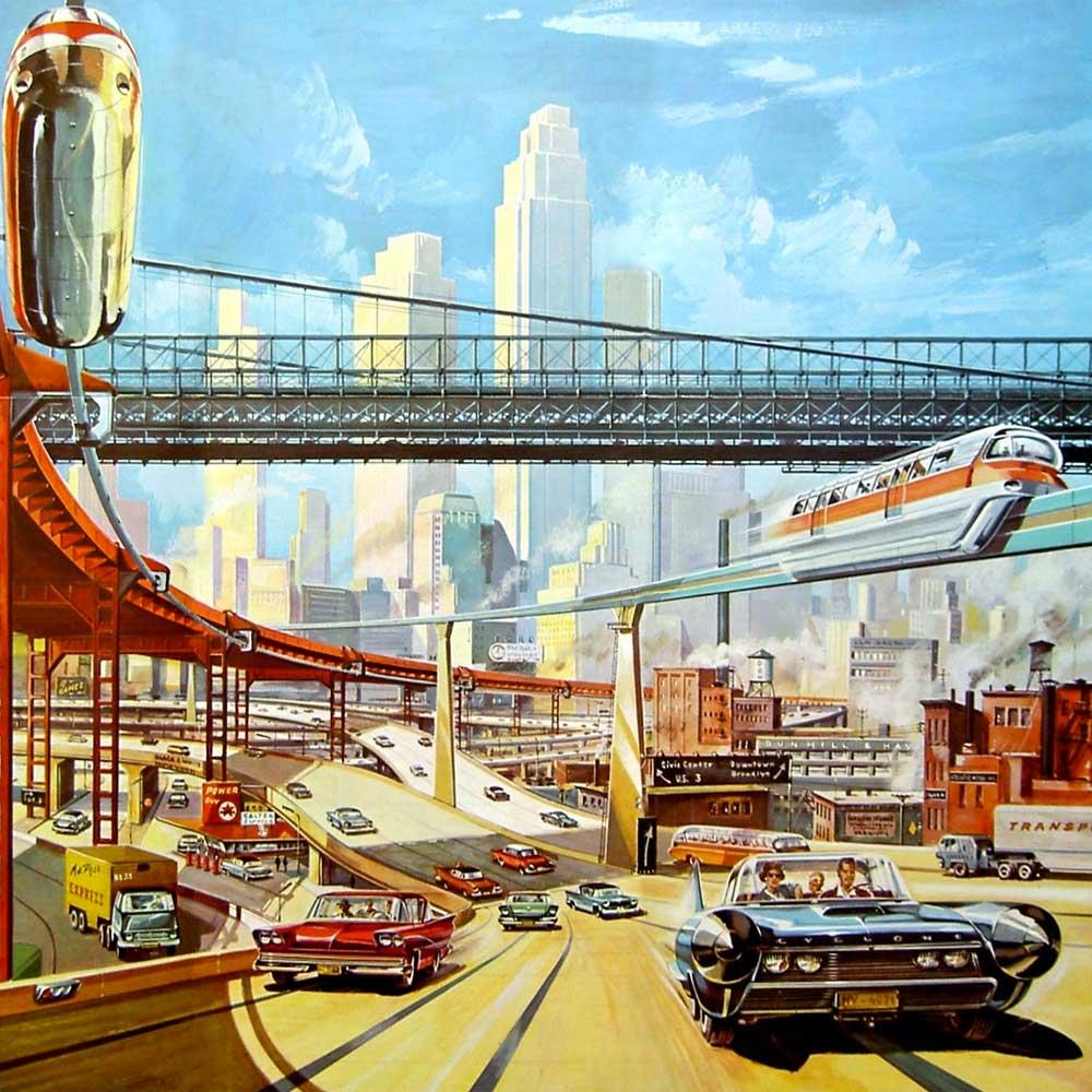 Atompunk retro futurism aesthetic
