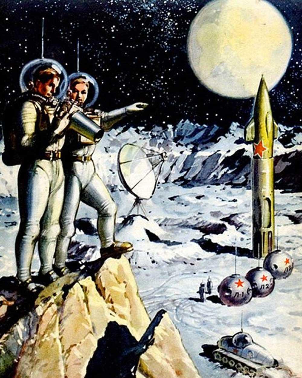 Retro futurism Aesthetic of 1950s Space AgeTM cover, Russia 1953