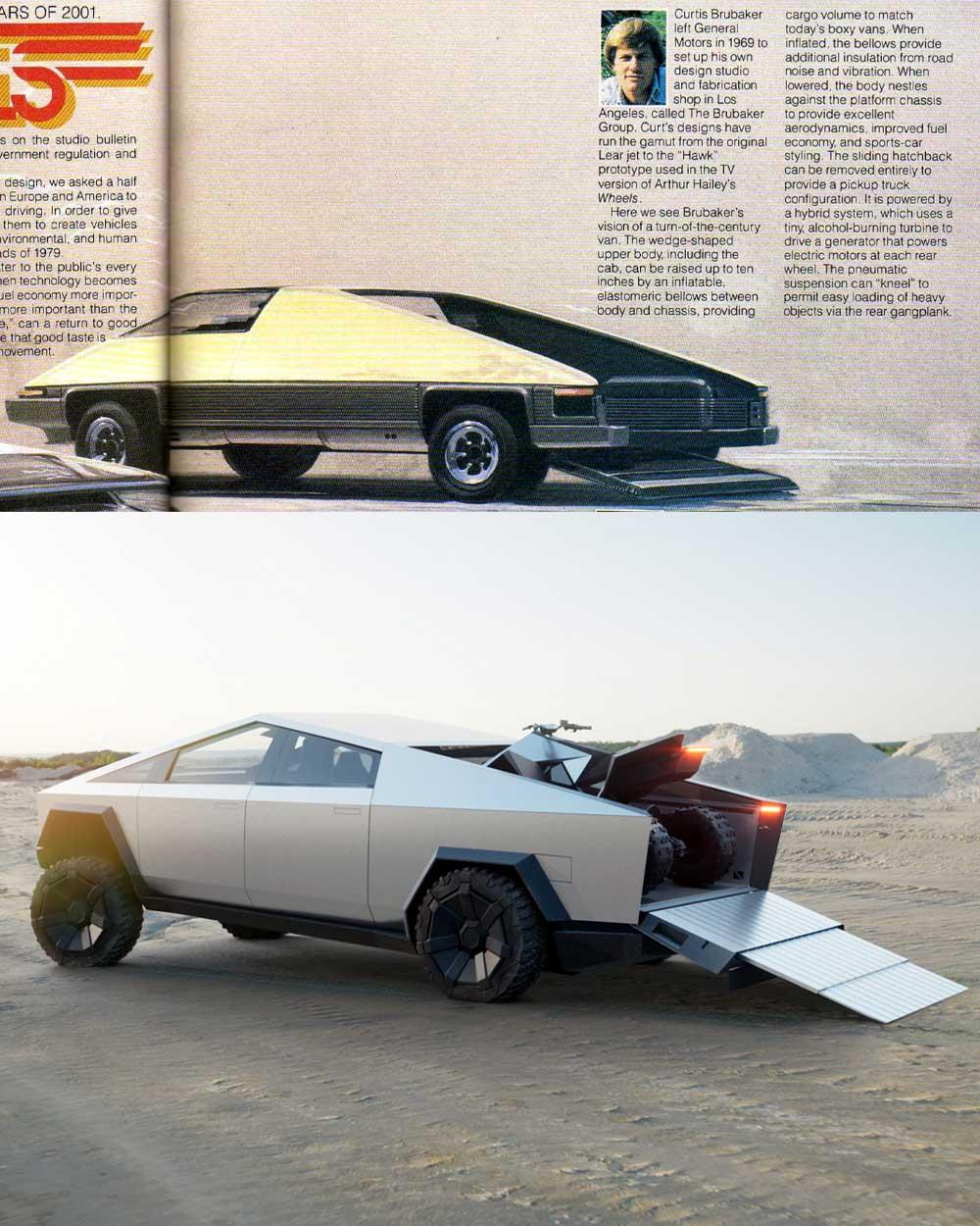 Tesla cybertruck futuristic retro