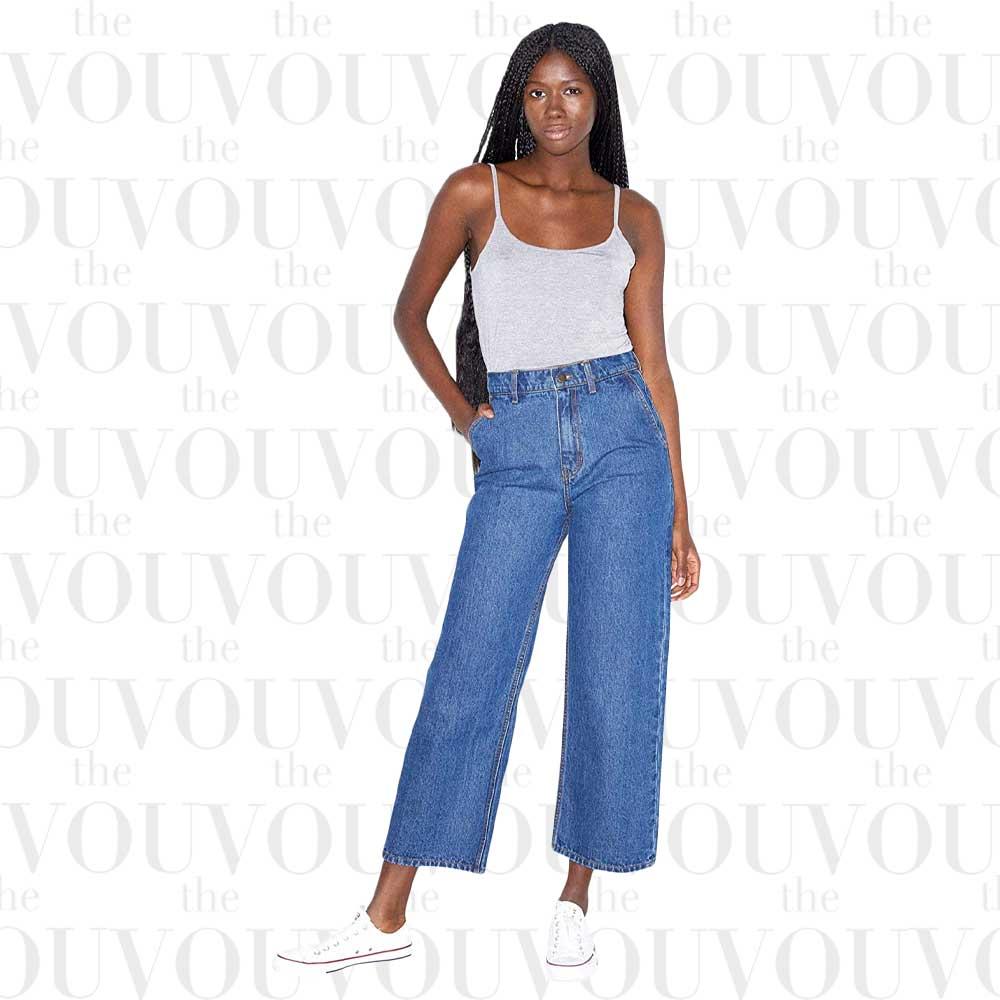 American Apparel Women's Crop Wide Leg Jeans for women