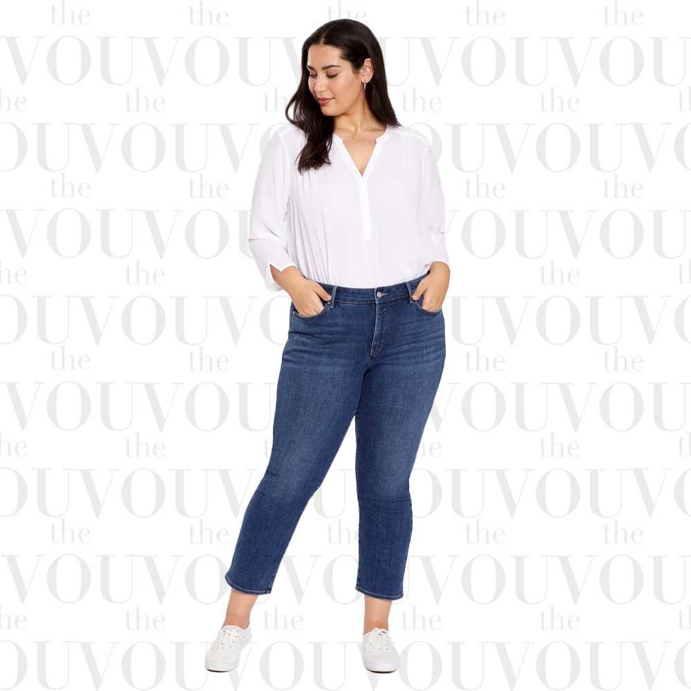 NYDJ Marilyn Straight Ankle Dark Blue Plus Size Jeans for women