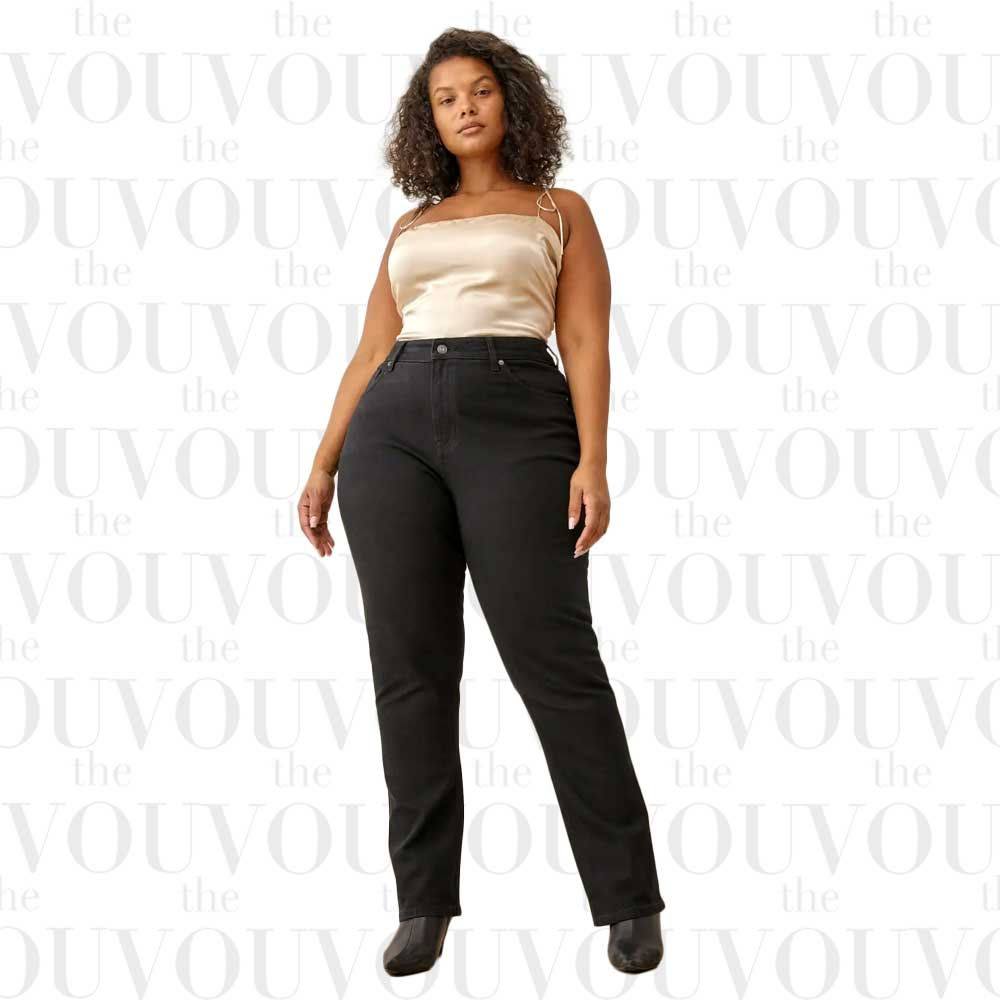 REFORMATION Black Liza Ultra High Rise Straight Plus Size Jeans
