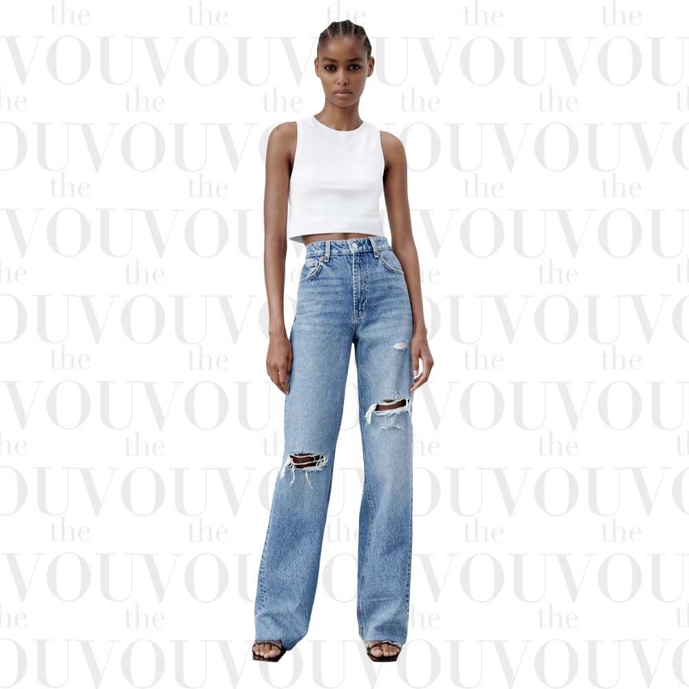 ZARA Ripped Wide-Leg Jeans for women