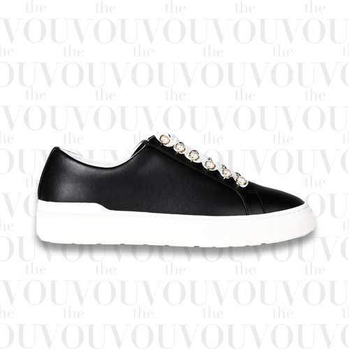 Stuart Faux Pearl-Embellished Leather Sneakers