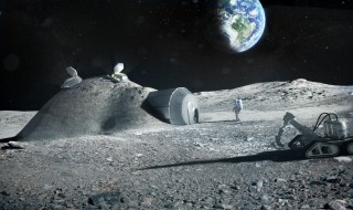 Lunar outpost near the moon's south pole