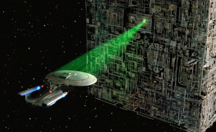 Startship controlled by a tractor beam