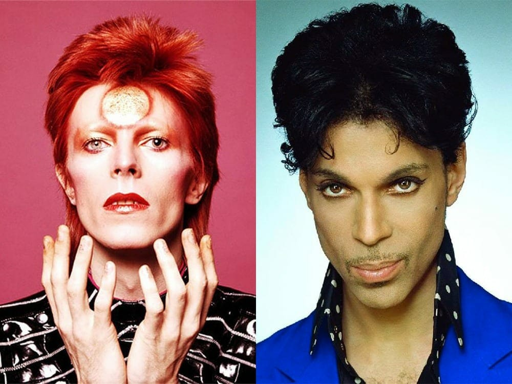 David Bowie and Prince wearing makeup