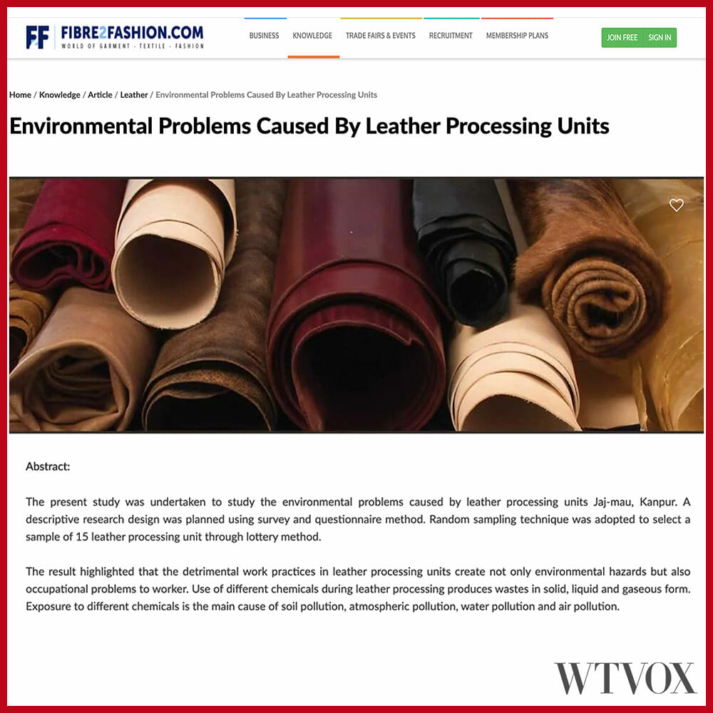 Leather environmental pollution