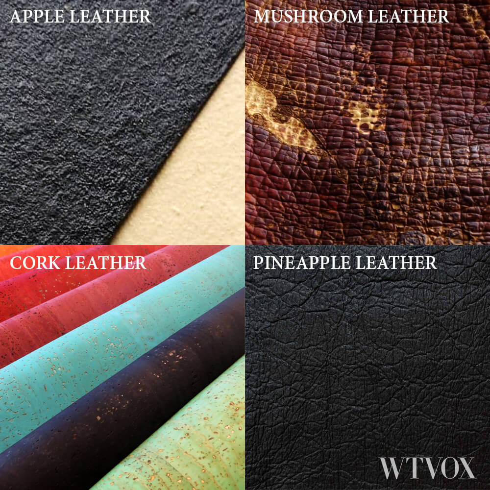 Sustainable Vegan leather made of apple, pineapple, cork and mushroom