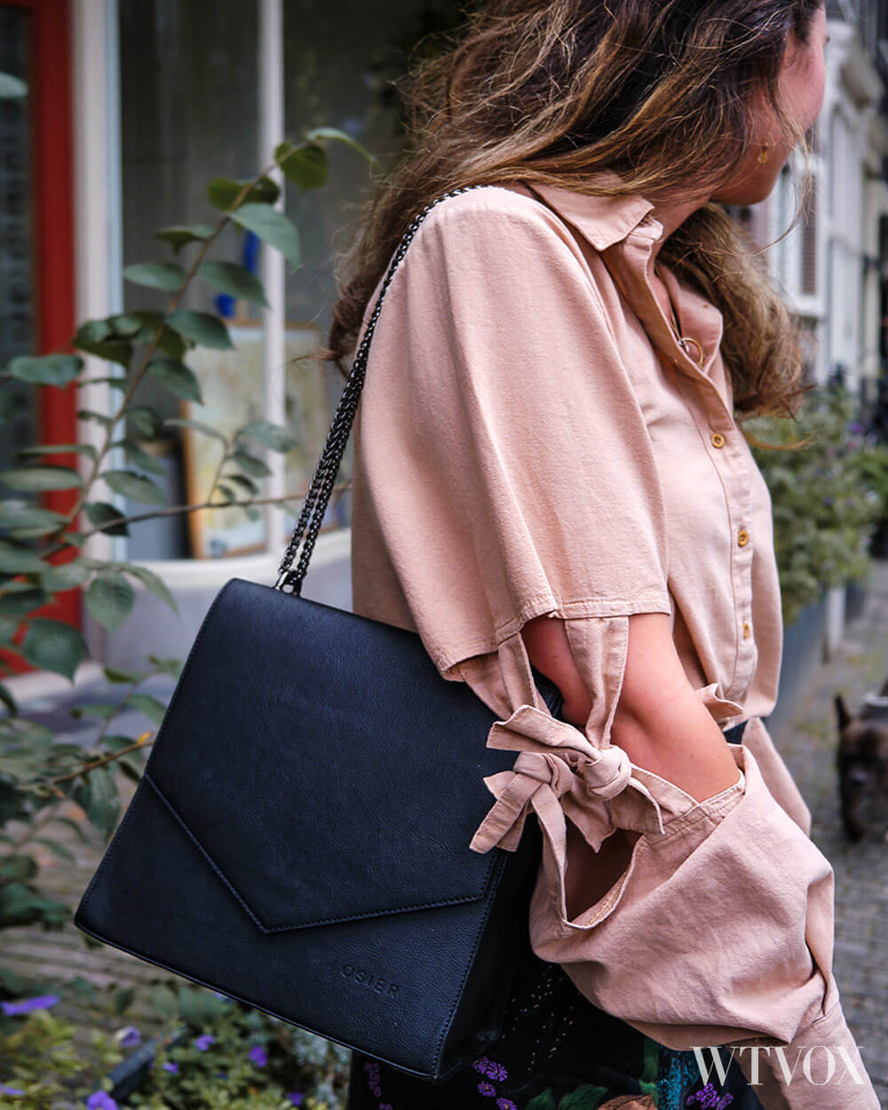 Osier vegan leather shoulder bag