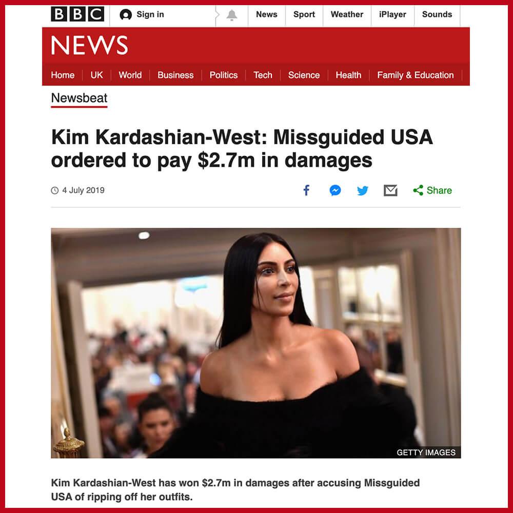 Kim Kardashian has won her court case against fast fashion giant Missguided