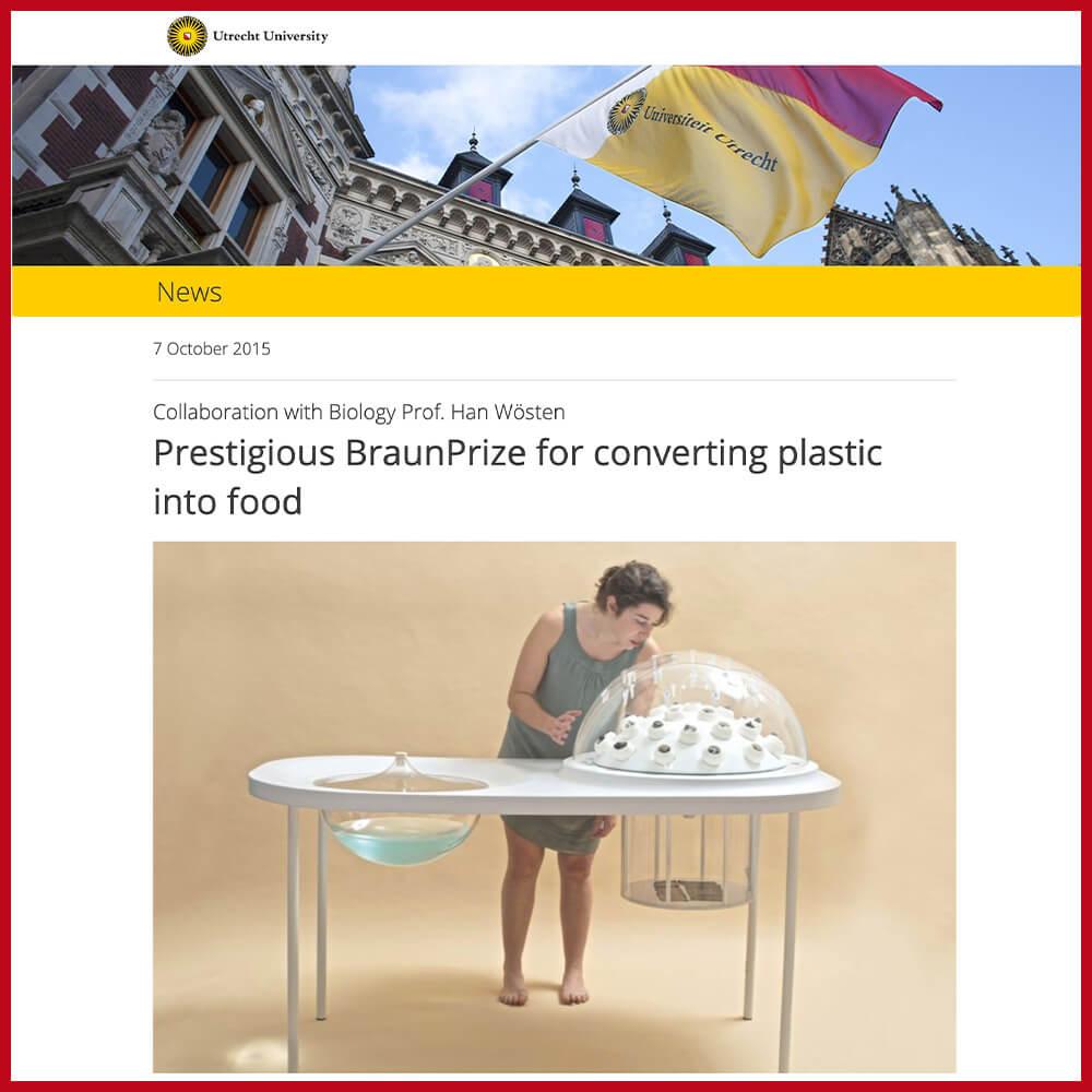 Utrecht University research on fungi eating plastic
