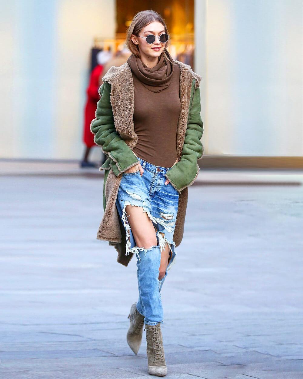 Gigi Hadid wearing One Teaspoon jeans