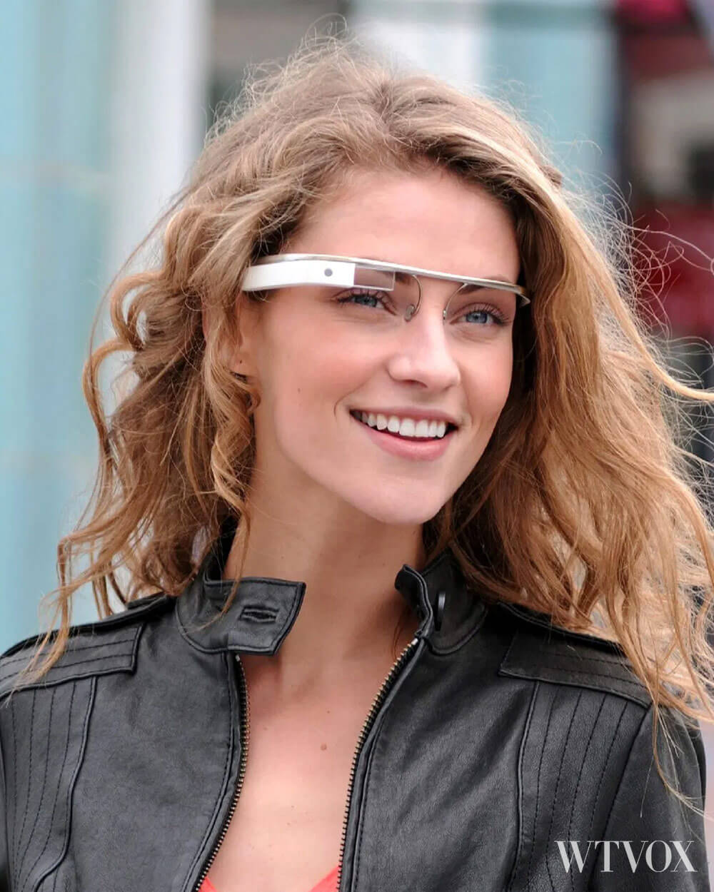 Google Glass in white frame