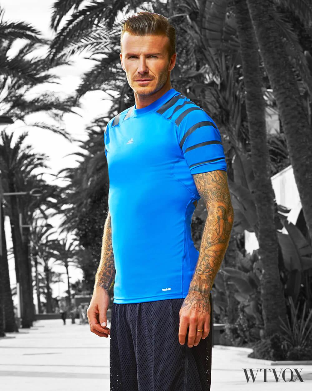 David Beckham wearing Climachill Adidas high tech sportswear