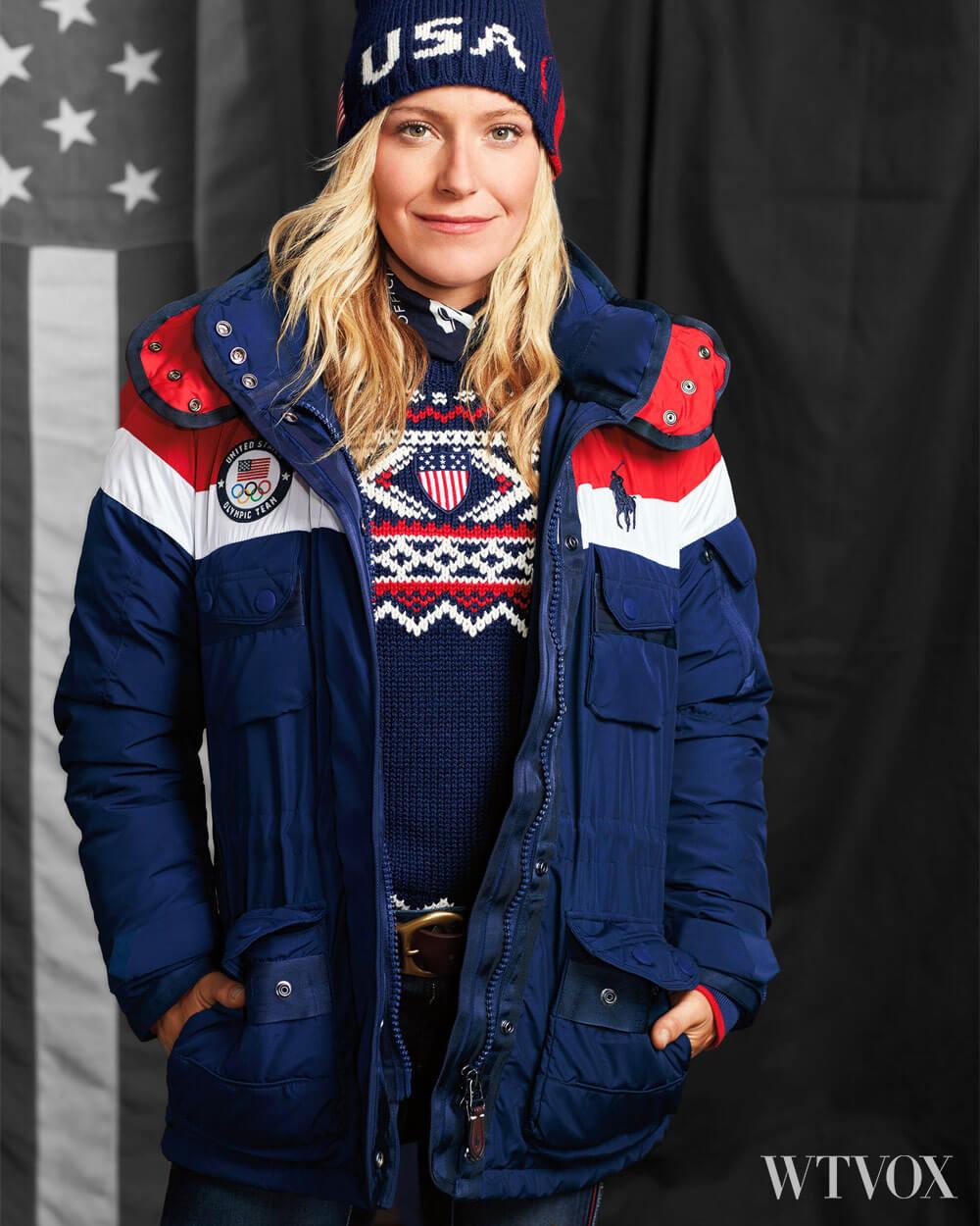 The 2018 winter Olympics Us team wearing Polo Ralph heated jacket