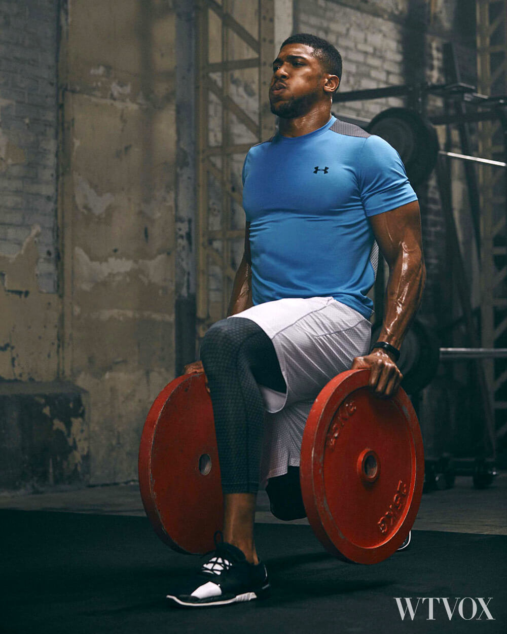 Anthony Joshua wearing Under Armour Vanish high tech sportswear during intense workout