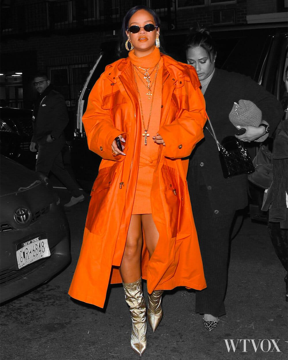 Rihanna wearing streetwear outfit - orange colour