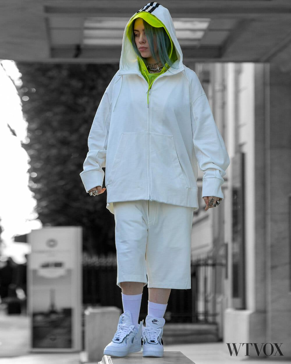 Billie Eilish in streetwear - white colour