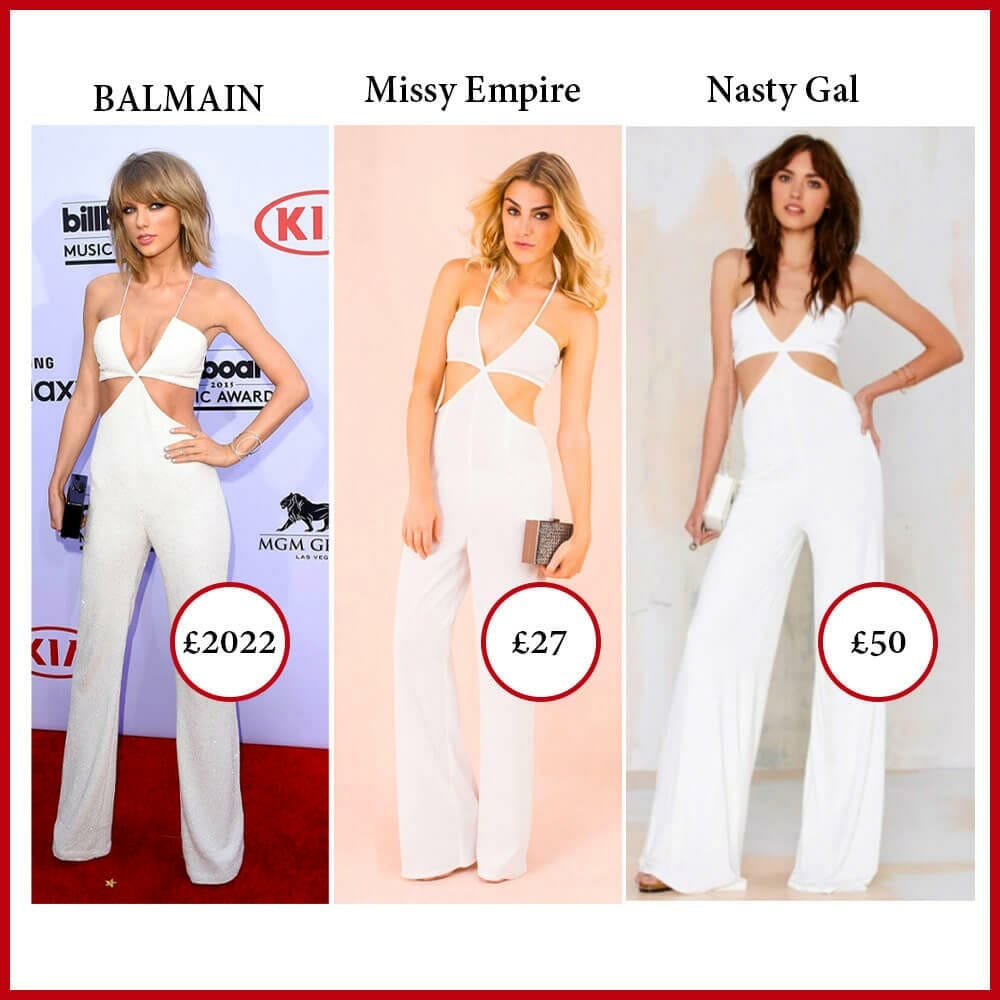 Fast Fashion brands stealing Balmain jumpsuit design worn by Taylor Swift on the Red Carpet